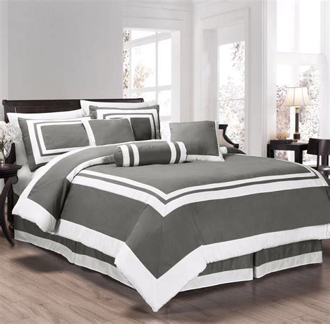 gray and white striped comforter new full queen cal king bed gray grey white hotel stripe