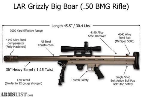 grizzly 50 bmg armslist for sale l a r grizzly big boar 50bmg