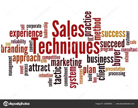 sales techniques sales techniques word cloud concept 8 stock photo