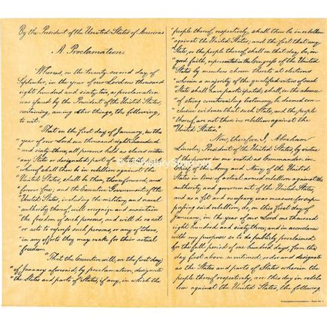 Abraham Lincoln - John F. Kennedy Coincidences – store ... Emancipation Proclamation Actual Document
