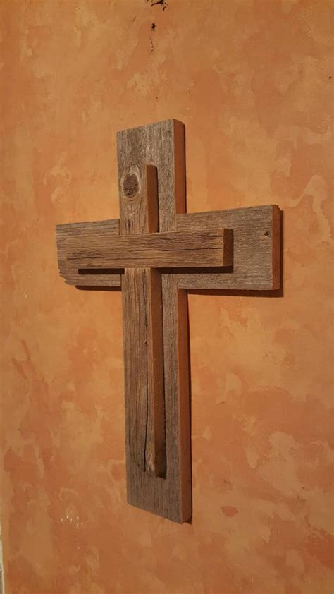 unique medium rustic cedar wall cross hanging decor repurposed