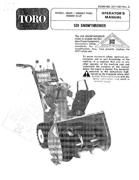 Toro 38040 524 Snowblower Manual 1981 1984