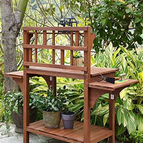 large potting bench garden potting bench with storage shelf wood outdoor large