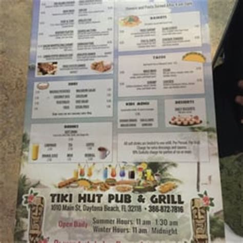 Tiki Shack Menu Photos For Tiki Hut Pub Grill Yelp
