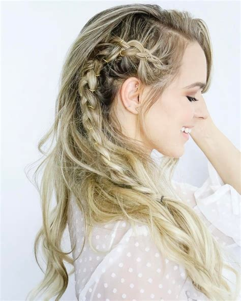 Wedding Hairstyles With Side Braids wavy wedding hairstyle with side braid and gold jewelry