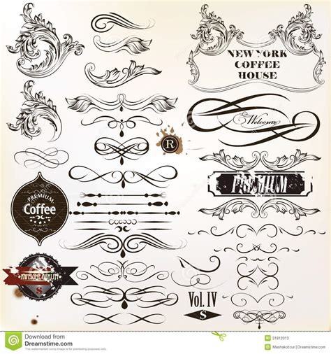 calligraphic vintage design elements vector set vector set of vintage calligraphic elements and page
