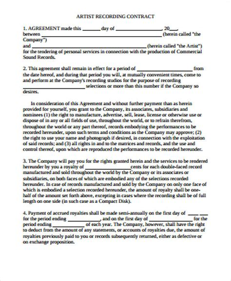 artist agreement contract samples word  pages