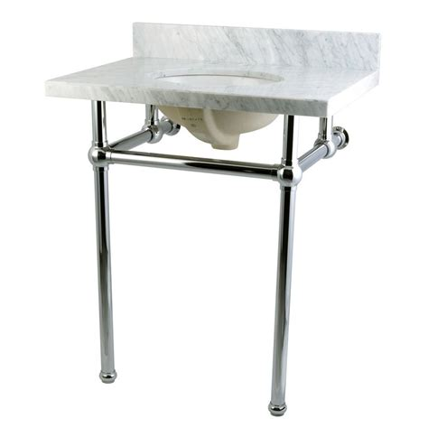 Metal Leg Bathroom Vanity Kingston Brass Washstand 30 In Console Table In Carrara White With Metal Legs In Polished