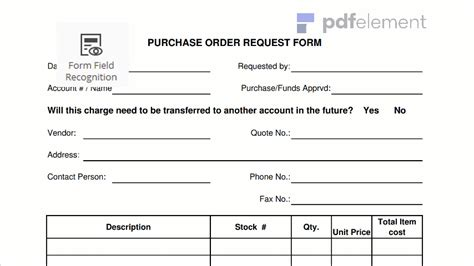 request for purchase order template purchase order request form template free edit