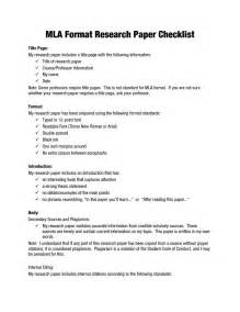 Exle Research Paper by Mla Format Research Papers Mla Format Research Paper Checklist What Your Paper Should Look