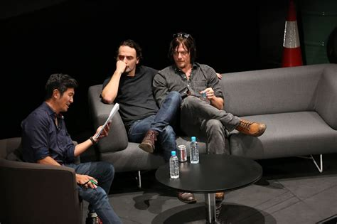 tv couch walking dead singapore fans met with andrew lincoln and norman reedus