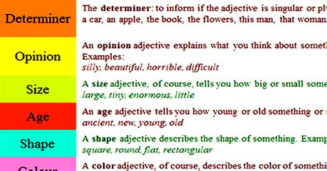 order of adjectives english conversations