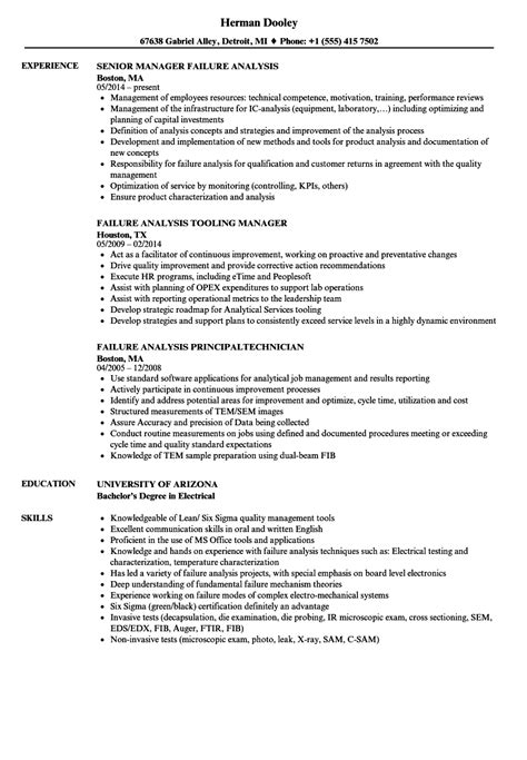 failure analysis engineer resume failure analysis resume sles velvet sle resume