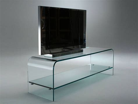 porta tv in vetro porta tv in cristallo curvato con ripiano