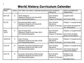 curriculum calendar or map template by michele luck s