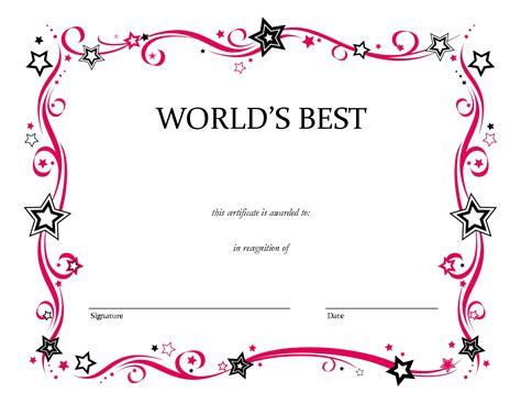 free printable award template free printable blank award certificate templates chainimage