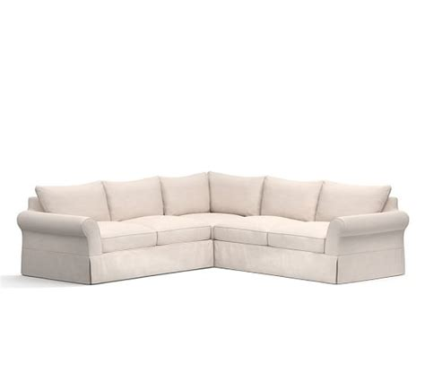 pottery barn comfort roll arm sofa pb comfort roll arm slipcovered 3 piece l shaped sectional