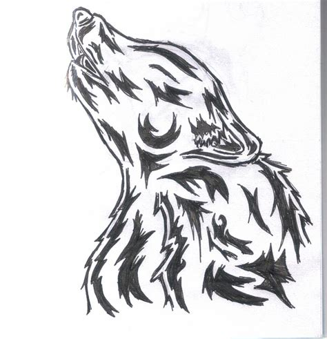 tribal wolf head tattoo designs attractive black tribal wolf design