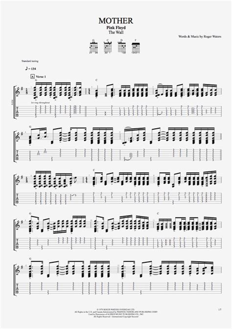 strumming pattern mother pink floyd mother by pink floyd full score guitar pro tab