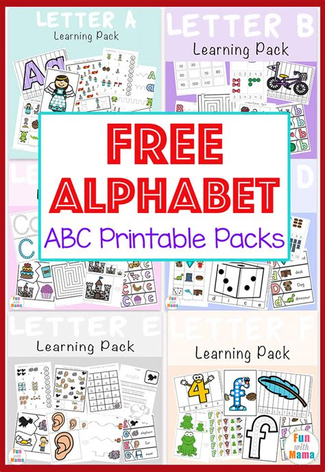 printable free pictures free alphabet abc printable packs fun with mama