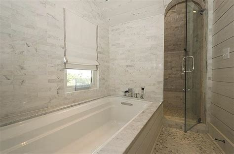 Shiplap Tub Surround Arched Shower With Marble Tiles Transitional Bathroom
