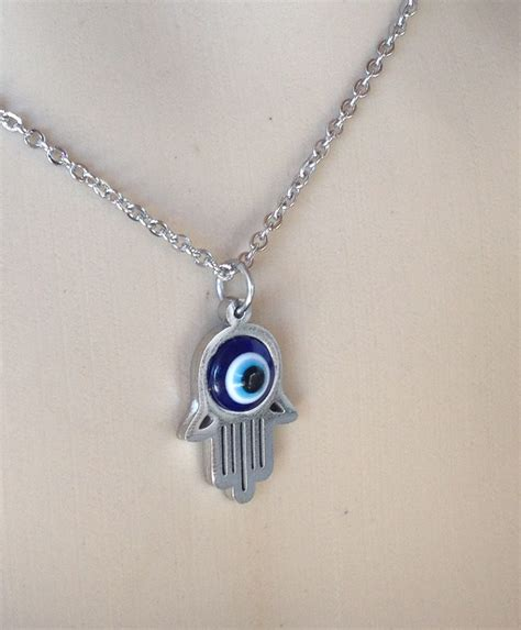 Silver Evil Eye 13 5mm Pendant evil eye hamsa necklace in stainless steel sboeyes