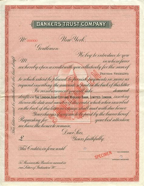 United Bank Limited Letter Of Credit Bankers Trust Co Letter Of Credit Specimen Pounds