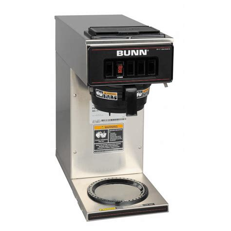 commercial coffee makers bunn vp17 low profile 64 oz commercial pourover coffee brewer with 1 warmer in stainless steel
