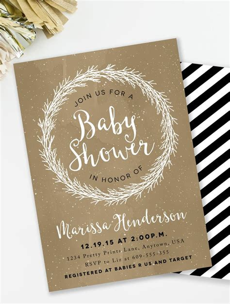 pink snowflake baby shower invitation winter baby shower