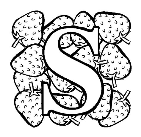 letter s strawberry coloring page