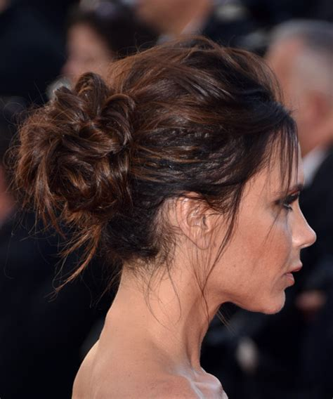 brunette hairstyles updos victoria beckham long straight casual wedding updo