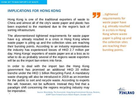 Set Hk Ban signal china set to ban imports of waste from hong kong