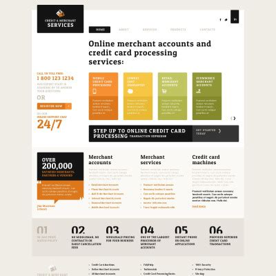 Credit Card Website Template by Merchant Services Website Templates Templatemonster