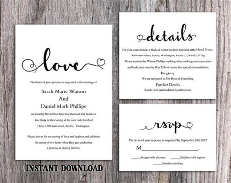 Diy Printable Wedding Invitations Templates diy wedding invitation template set editable word file printable invitation black