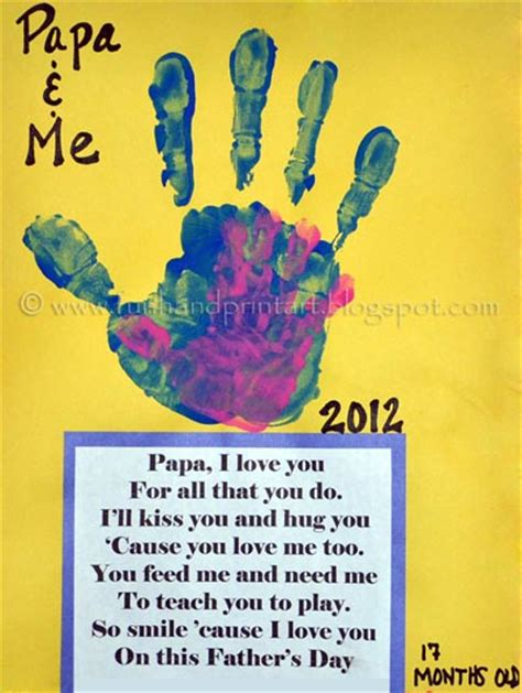 fathers day poems for papa me handprint craft for s day daycare