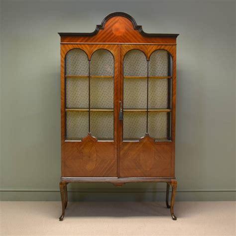 Antique Display Cabinet by Edwardian Walnut Antique Display Cabinet