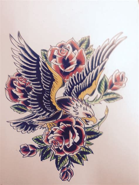 eagle and rose tattoo best 25 traditional eagle ideas on