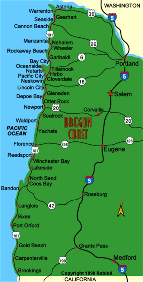 oregon coast map from astoria to brookings