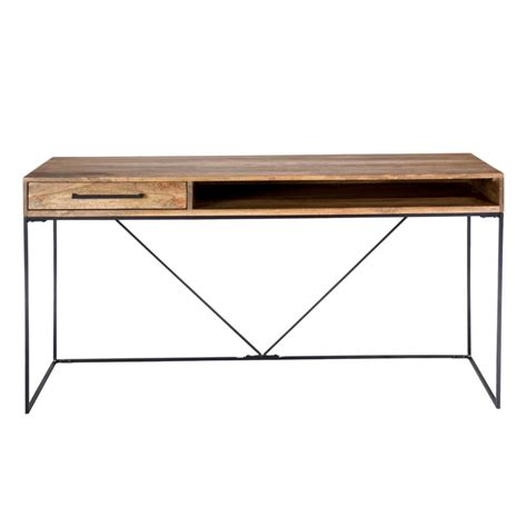Colvin Desk In Solid Mango Wood W Metal Frame