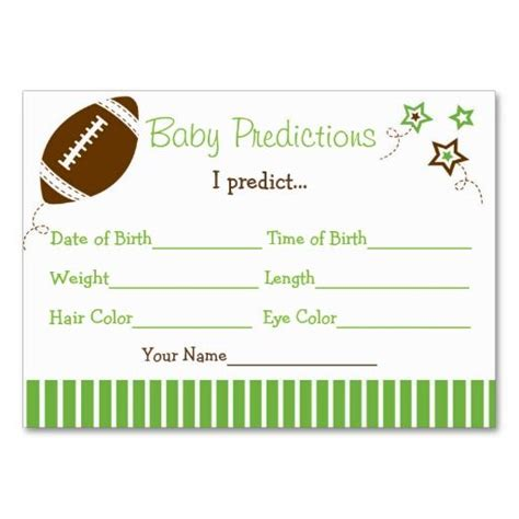 football prediction card template 52 best football all baby shower birthday images on