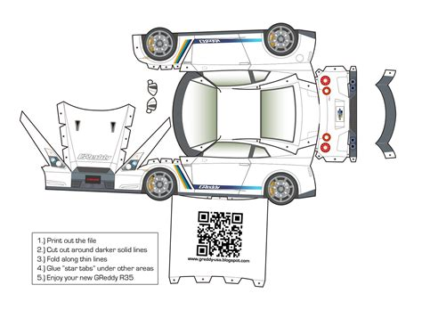 Papercraft Car Templates - welcome to the official greddy usa greddy paper craft 2
