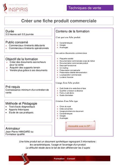 Exemple De Lettre Commerciale Pour Vendre Un Produit formation inspiris creer une fiche produit commerciale
