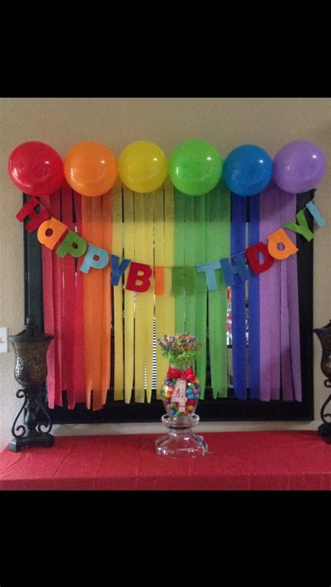 rainbow birthday decorations streamers and balloons