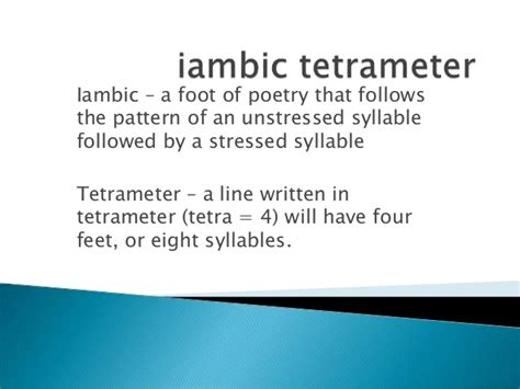 pattern me definition iambic tetrameter and rhyming couplet