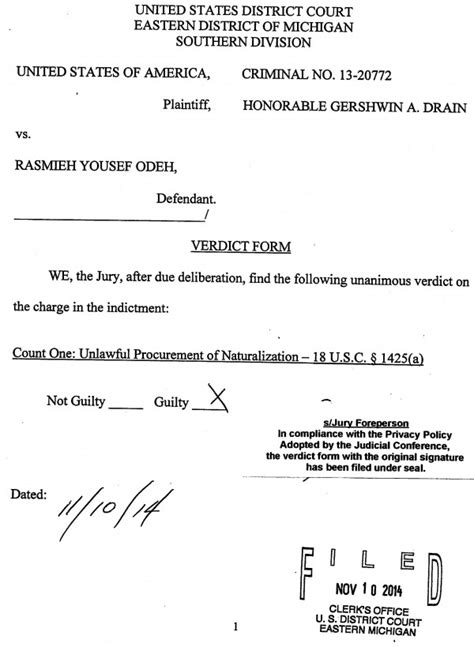 model jury instructions for surety cases rasmieh odeh found guilty justice rasmea