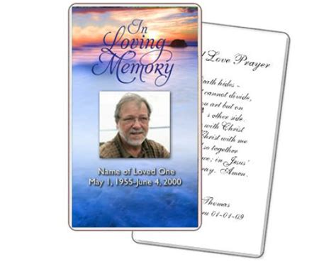 template for a memory card for a funeral 8 best images of free printable memorial prayer cards