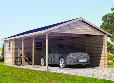 Large Car Port by Large Wooden Carport With Tool Shed 30m 178 44mm