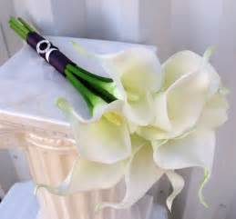 calla lily wedding bouquet white plum purple real touch bridal
