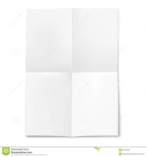Folded Sheet Of Paper - blank sheet of paper folded in four