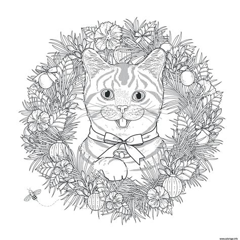 Coloriage Adulte Noel by Coloriage Mandala Noel Chat Adulte Dessin